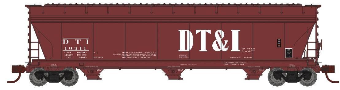 N Scale - Athearn - 8495 - Covered Hopper, 3-Bay, ACF 4600 - Detroit Toledo & Ironton - 10333