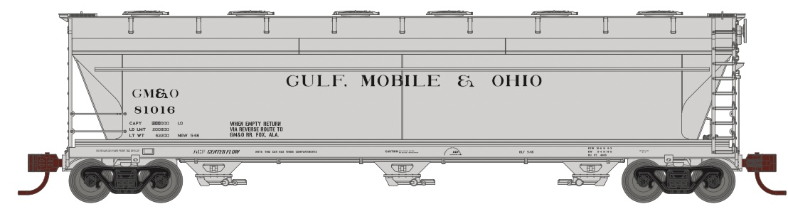 N Scale - Athearn - 8499 - Covered Hopper, 3-Bay, ACF 4600 - Gulf Mobile & Ohio - 3-Pack