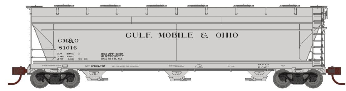 N Scale - Athearn - 8498 - Covered Hopper, 3-Bay, ACF 4600 - Gulf Mobile & Ohio - 81025