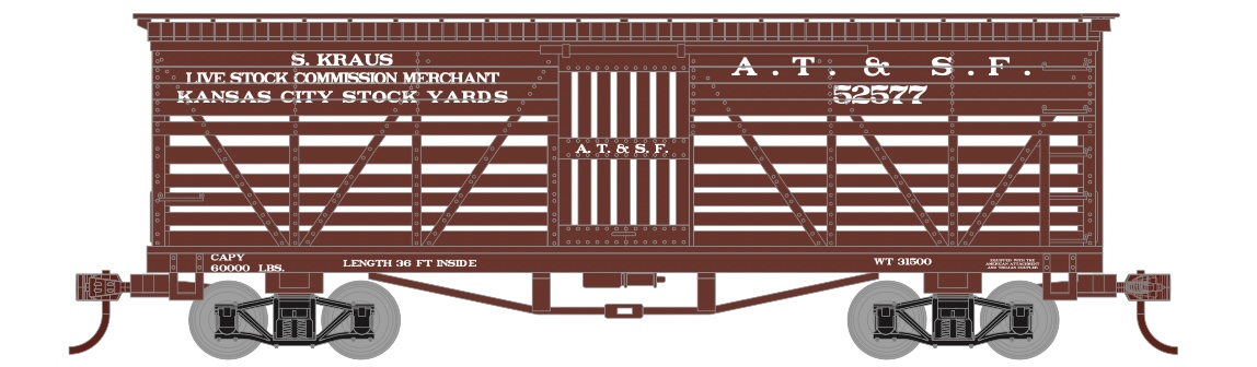 N Scale - Athearn - 5257 - Stock Car, 36 Foot Truss Rod - Santa Fe - 52584