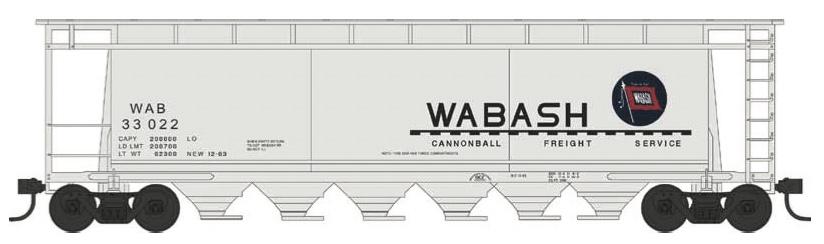 N Scale - Bowser - 38168 - Covered Hopper, 3-Bay, Cylindrical - Wabash - 33028