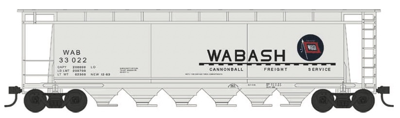 N Scale - Bowser - 38169 - Covered Hopper, 3-Bay, Cylindrical - Wabash - 33050
