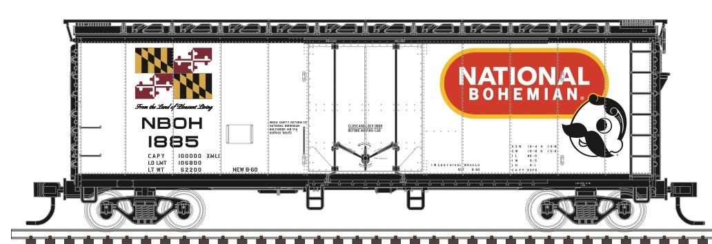 N Scale - Atlas - 50 005 663 - Boxcar, 40 Foot, Steel Plug Door - National Brewing Company - 1893