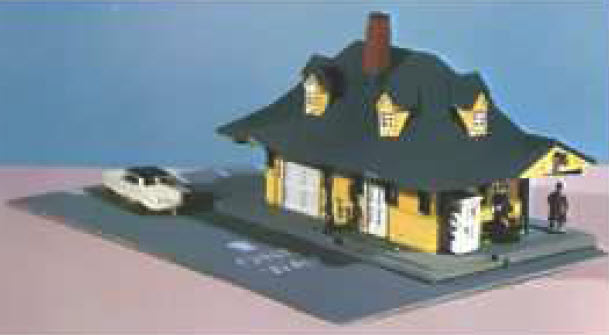 N Scale - Bachmann - 7401 - Structures - Railroad Structures - Passenger Station w people, car, and lot