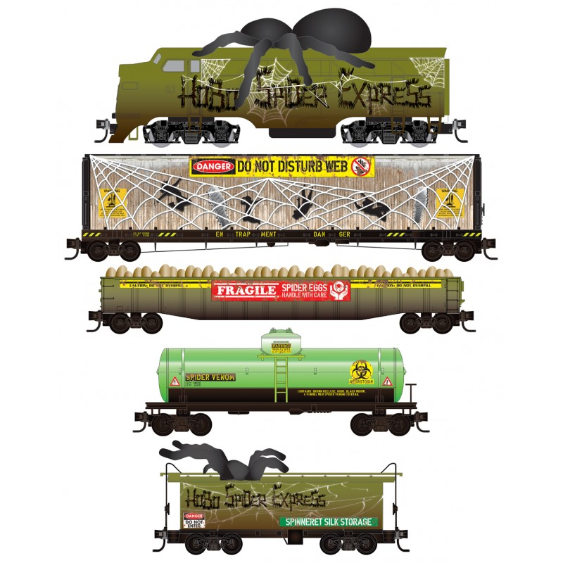 N Scale - Micro-Trains - 993 21 350 - Freight Train, Diesel, North American, Transition Era - Holiday Car - Hobo Spider Express Set
