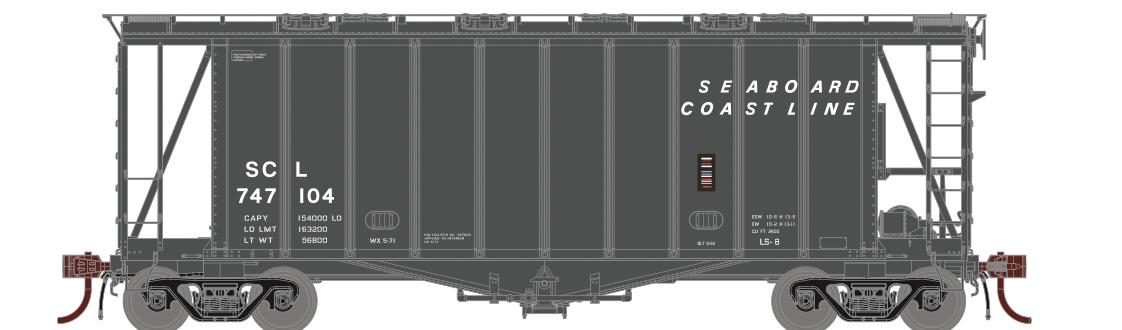 N Scale - Athearn - 23873 - Covered Hopper, 2-Bay, GATX Airslide 2600 - Seaboard Coast Line - 747104