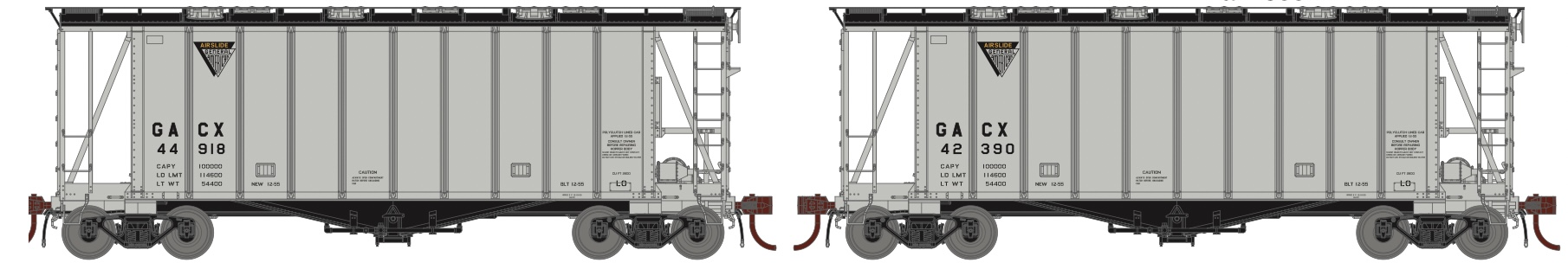 N Scale - Athearn - 23872 - Covered Hopper, 2-Bay, GATX Airslide 2600 - GACX - 2-pack