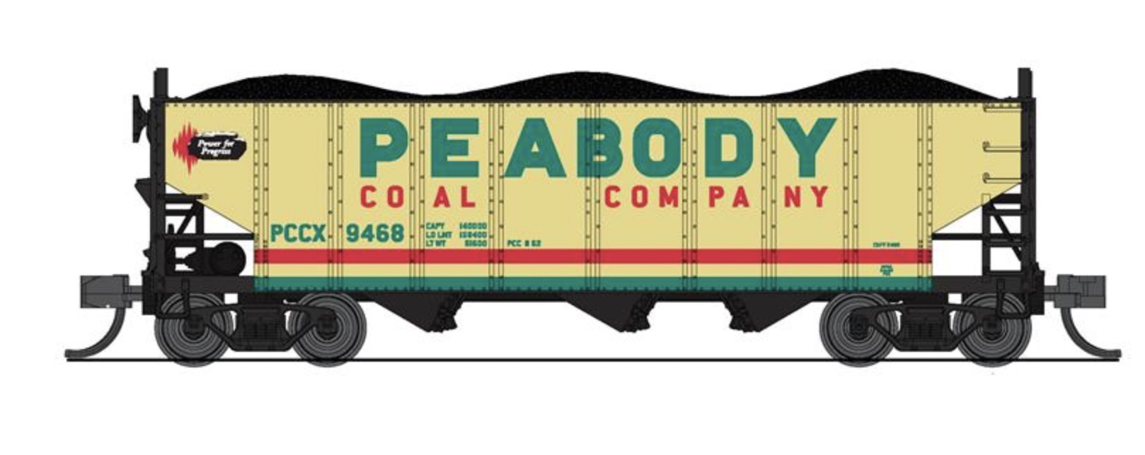 N Scale - Broadway Limited - 7163 - Open Hopper, 3-Bay, H2A - Peabody Coal Company - 2-Pack