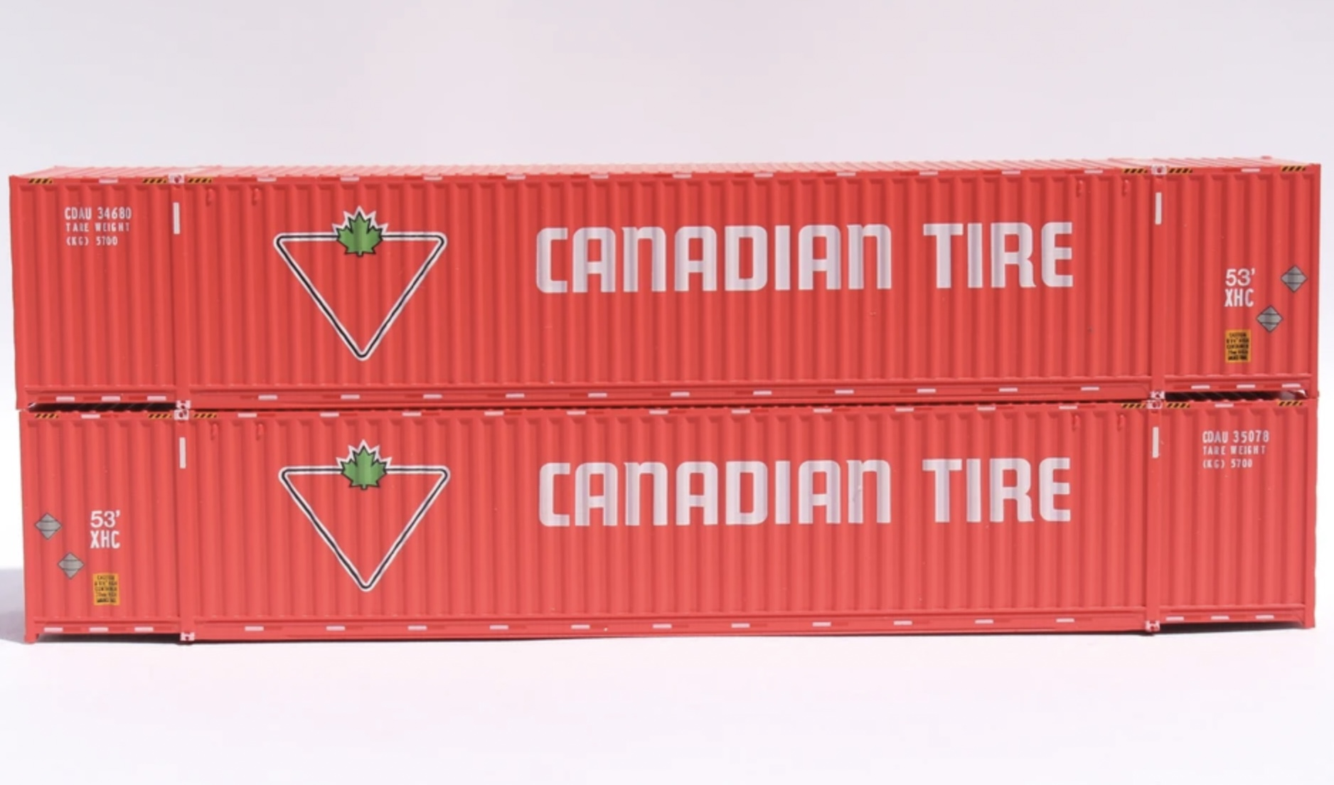 N Scale - Jacksonville Terminal - 535064 - Container, 53 Foot, Corrugated - Canadian Tire - 2-Pack