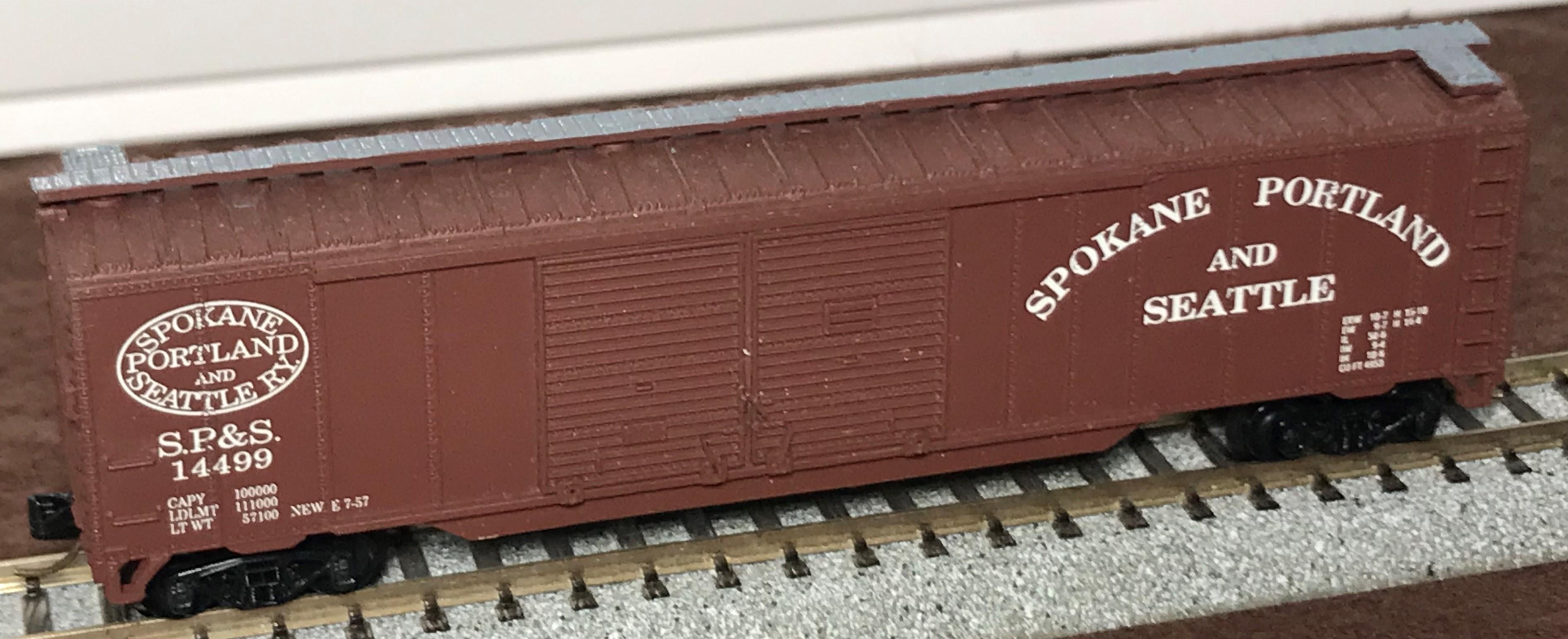 N Scale - Aztec - PCS2026-2 - Boxcar, 50 Foot, Steel, Double Door - Spokane Portland & Seattle - 14499