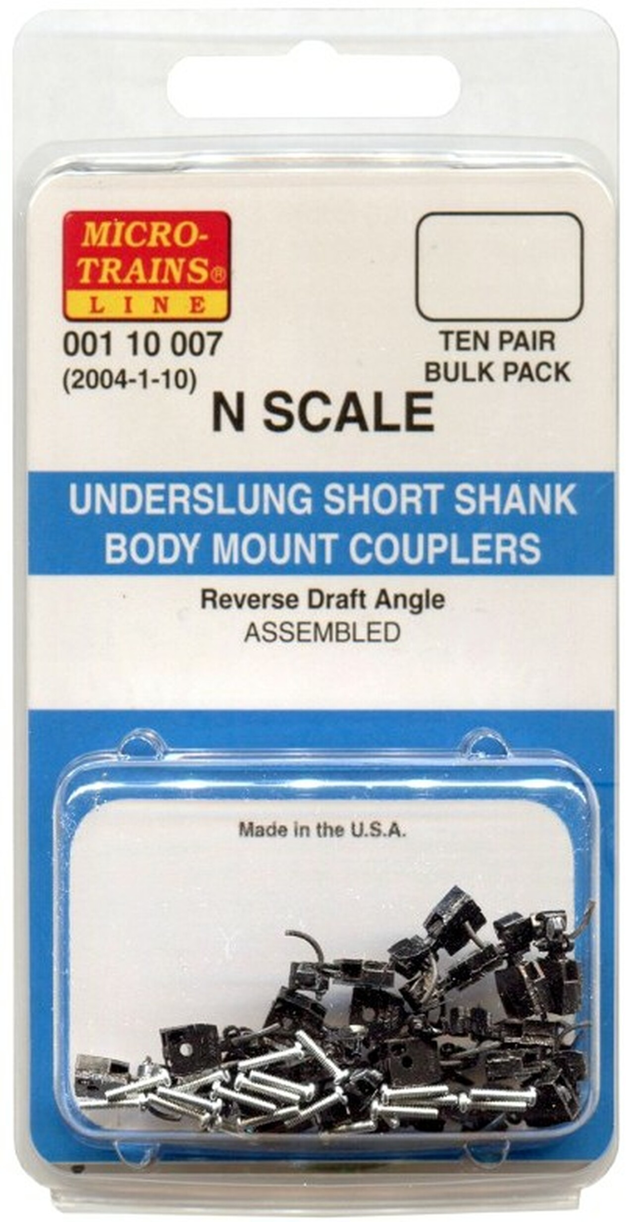 N Scale - Micro-Trains - 2004-1-10 - Couplers, Short Shank - Undecorated - Underslung Short Shank Body Mount