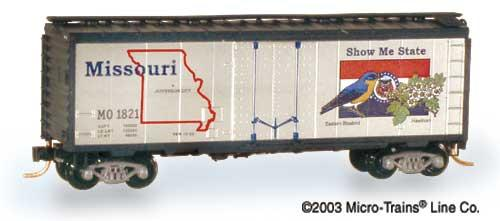 N Scale - Micro-Trains - 21373 - Boxcar, 40 Foot, Steel Plug Door - State Cars - 1821