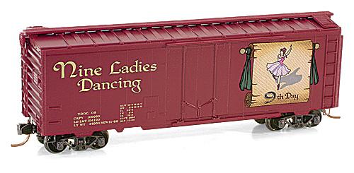 N Scale - Micro-Trains - 021 00 509 - Boxcar, 40 Foot, Steel Plug Door - Twelve Days of Christmas - 9