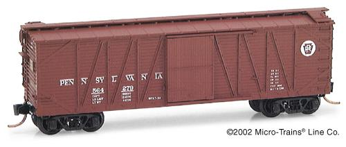 N Scale - Micro-Trains - 28130 - Boxcar, 40 Foot, Wood Sheathed, Outside Braced - Pennsylvania - 564279