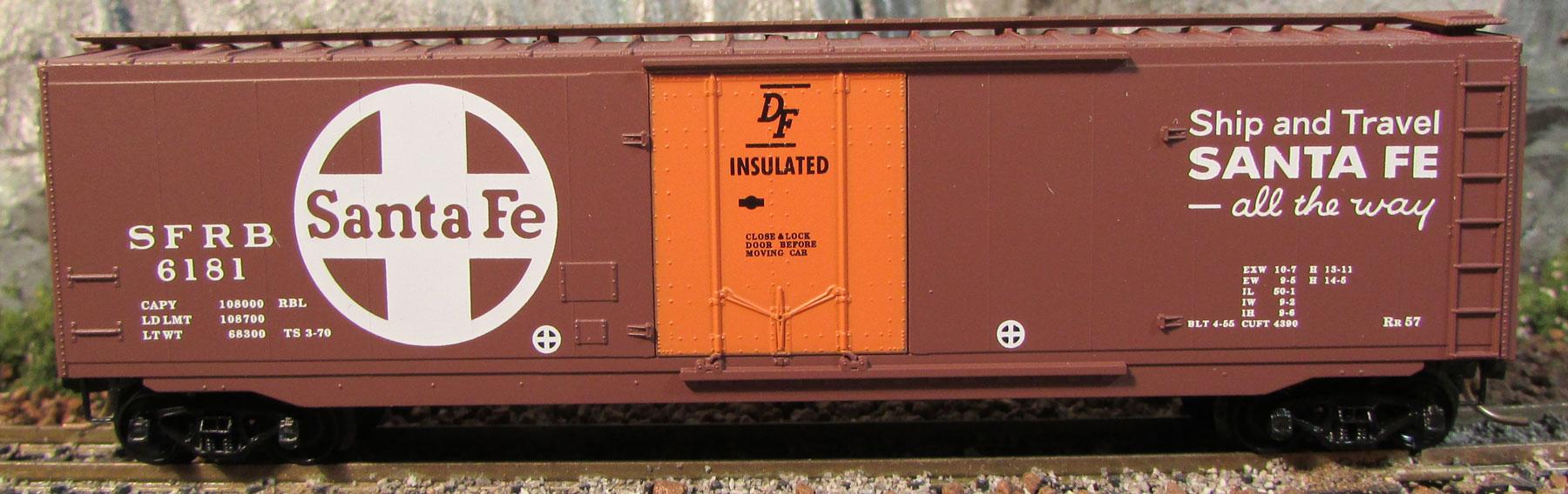 N Scale - Micro-Trains - 32050.4 - Boxcar, 50 Foot, Steel, Plug Door - Santa Fe - 6181