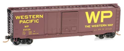 N Scale - Micro-Trains - 033 00 180 - Boxcar, 50 Foot, Steel - Western Pacific - 35729