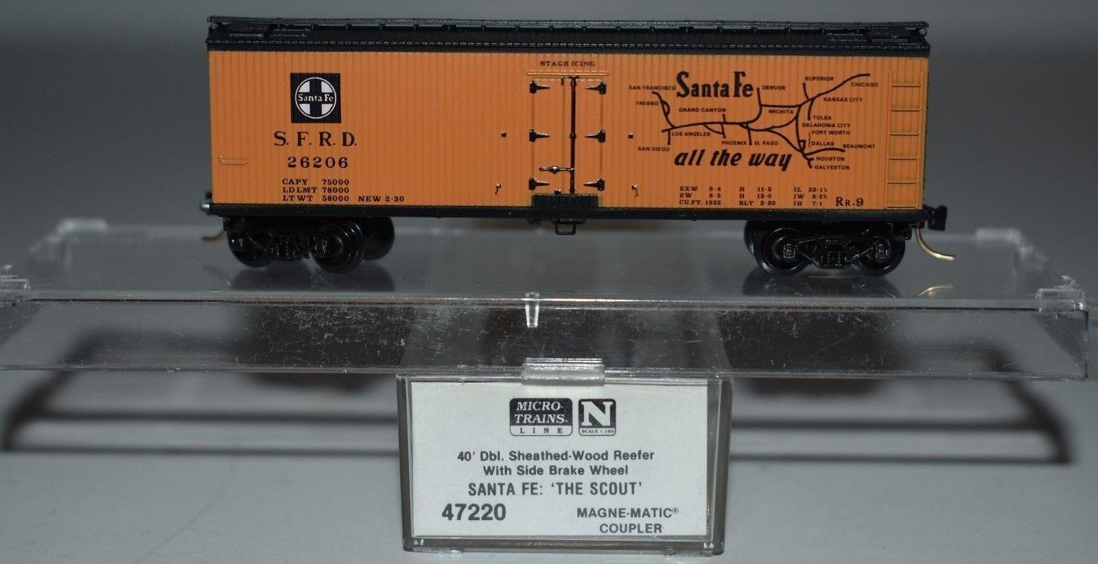 N Scale - Micro-Trains - 47220 - Reefer, Ice, Wood - Santa Fe - 26206
