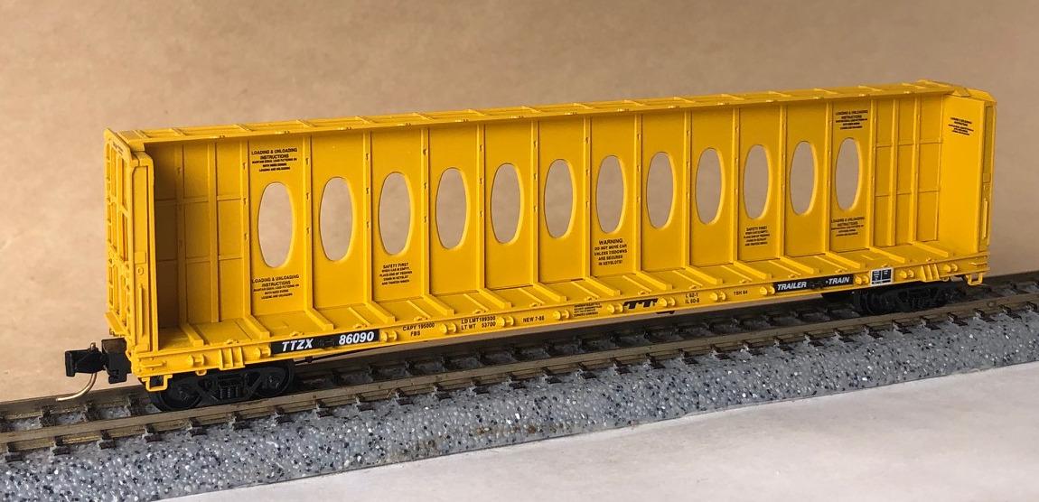 N Scale - Micro-Trains - 53020 - Flatcar, 60 Foot, Centerbeam - TTX Trailer Train - 86090