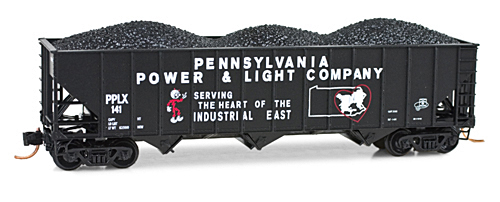 N Scale - Micro-Trains - 108 00 230 - Open Hopper, 3-Bay, 100 Ton - Pennsylvania Power & Light - 141
