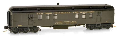 N Scale - Micro-Trains - 140 00 020 - Passenger Car, Heavyweight, Pullman RPO - New Haven - 3280