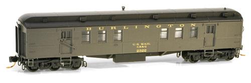 N Scale - Micro-Trains - 140 00 030 - Passenger Car, Heavyweight, Pullman RPO - Burlington Route - 2322