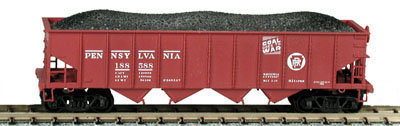 N Scale - Bowser - 37402 - Open Hopper, 4-Bay Steel H21a - Pennsylvania - 185869