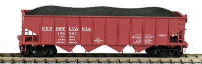 N Scale - Bowser - 37404 - Open Hopper, 4-Bay Steel H21a - Pennsylvania - 197491
