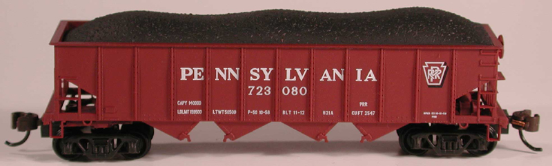 N Scale - Bowser - 37403 - Open Hopper, 4-Bay Steel H21a - Pennsylvania - 677000
