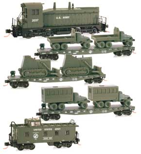N Scale - Micro-Trains - 993 01 030 - Mixed Freight Consist, North America, Transition Era - United States Army - Set 2 (5-Pack)