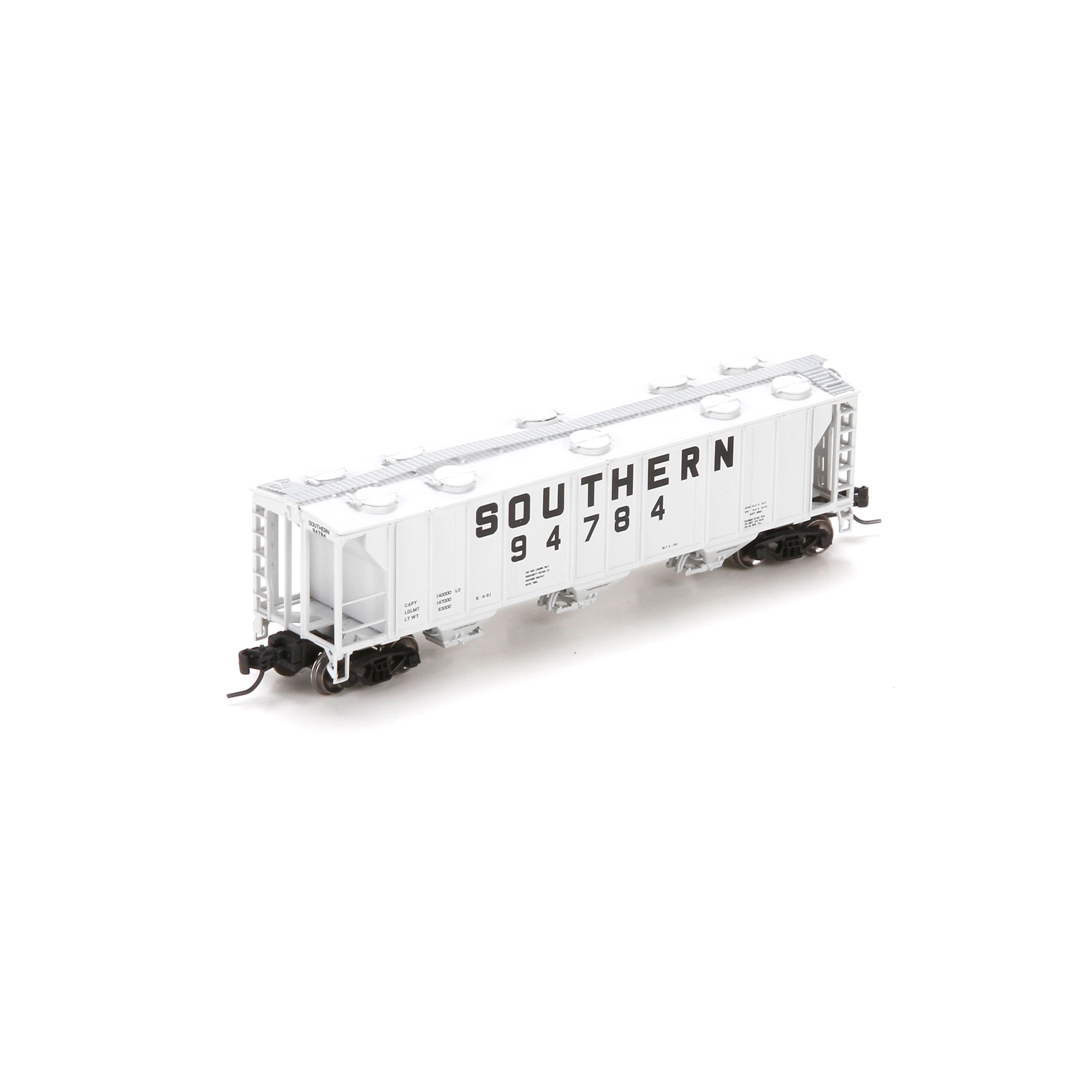 N Scale - Athearn - 23857 - Covered Hopper, 3-Bay, PS2 2893 - Southern - 94784