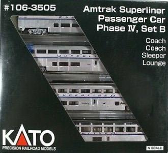 N Scale - Kato USA - 106-3505 - Passenger Car, Superliner - Amtrak - 4-Pack