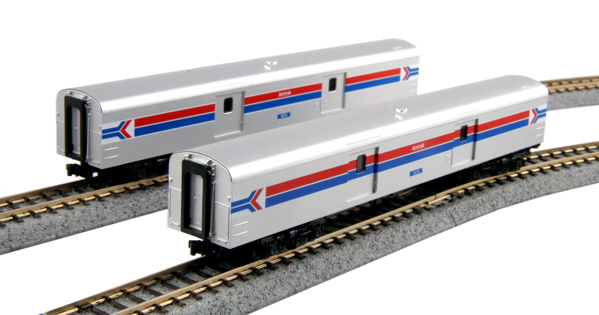 N Scale - Kato USA - 106-3512 - Passenger Car, Lightweight, ACF - Amtrak - 1075, 1076