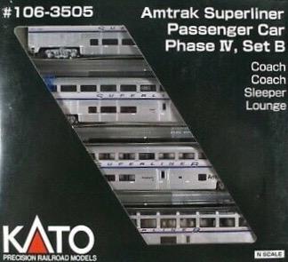 N Scale - Kato USA - 106-3505 R3 - Passenger Car, Superliner - Amtrak - 4-Pack