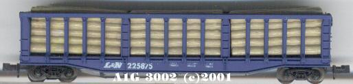 N Scale - Atlas - 3002 - Flatcar, 60 Foot, Bulkhead Log - Louisville & Nashville - 225875