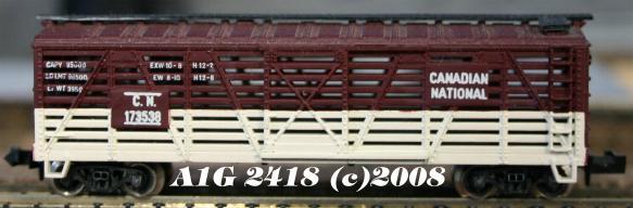 N Scale - Atlas - 2418 - Stock Car, 40 Foot, Wood - Canadian National - 173538