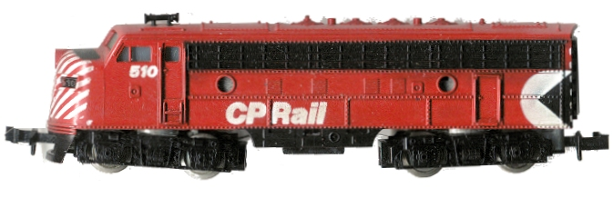 N Scale - Minitrix - 2907 - Locomotive, Diesel, EMD F9 - Canadian Pacific - 510