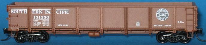 N Scale - Trainworx - 2629-04 - Gondola, 40 Foot, Steel, Drop Bottom - Southern Pacific - 151108