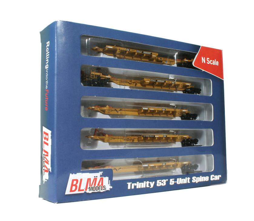 N Scale - BLMA - 12001 - Spine Car, 53 Foot, 5-Unit, Trinity, RAF53C - TTX Company - 555007