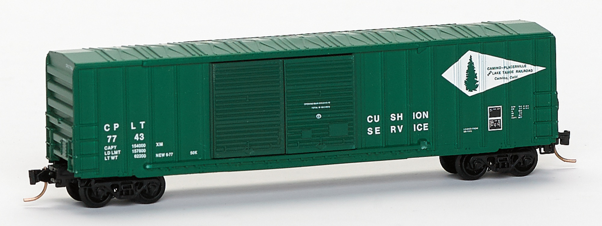 N Scale - Micro-Trains - 30100 - Boxcar, 50 Foot, Steel - Camino, Placerville and Lake Tahoe - 7743