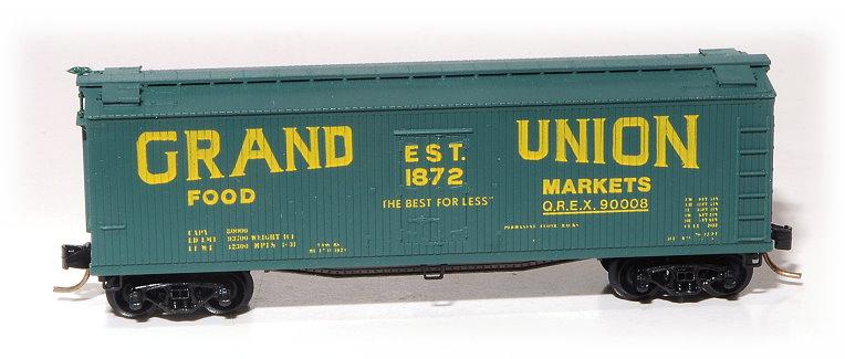 N Scale - Eastern Seaboard Models - 200801 - Reefer, Ice, 40 Foot, Wood - Grand Union Food Markets - 90008