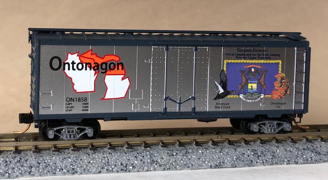 N Scale - Micro-Trains - NSE MTL 13-01 - Boxcar, 40 Foot, Steel Plug Door - State of Ontonagon - 1858