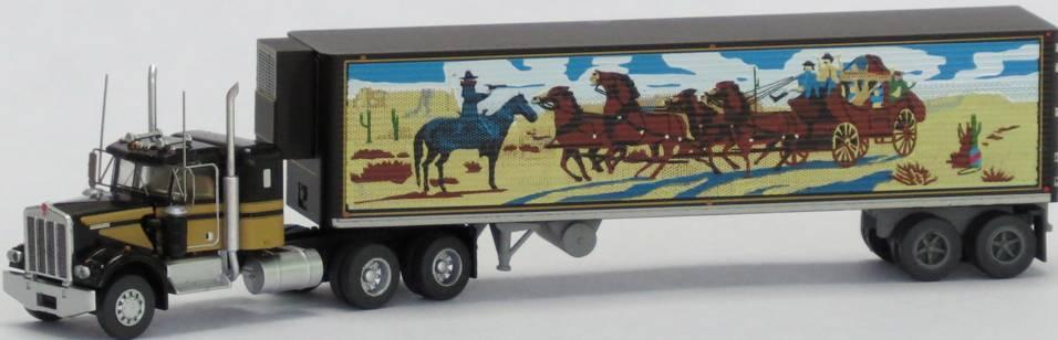 N Scale - Trainworx - 59094 - Truck, Semi Tractor Trailer, Dual Axle, Flat Top Sleeper, Kenworth, W900, Reefer Trailer, 40 Foot - Movie Trucks - Smokey and the Bandit
