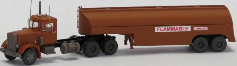 N Scale - Trainworx - 55195 - Truck, Semi Tractor Trailer, Peterbilt 281/231 - Movie Trucks - Duel