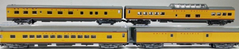 N Scale - Kato USA - 106-1102 - Union Pacific Smooth Side Passenger Car 4-Car Set B2 - Union Pacific - 5565, 5402, 7011, American Flyer