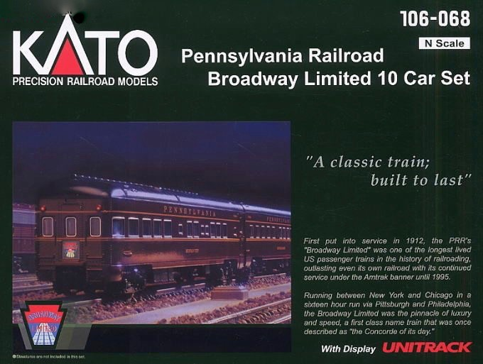 N Scale - Kato USA - 106-068 - Passenger Car, Lightweight, Smoothside - Pennsylvania - 10-Car Set