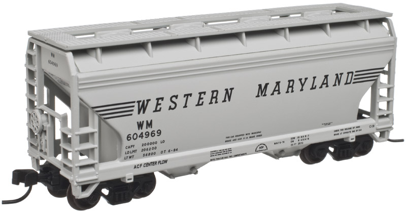 N Scale - Atlas - 50 001 871 - Covered Hopper, 2-Bay, ACF Centerflow - Western Maryland - 604969