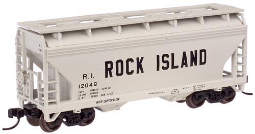 N Scale - Atlas - 39271A - Covered Hopper, 2-Bay, ACF Centerflow - Rock Island - 12039