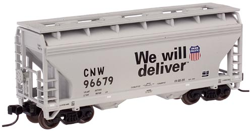 N Scale - Atlas - 39273A - Covered Hopper, 2-Bay, ACF Centerflow - Union Pacific - 96679