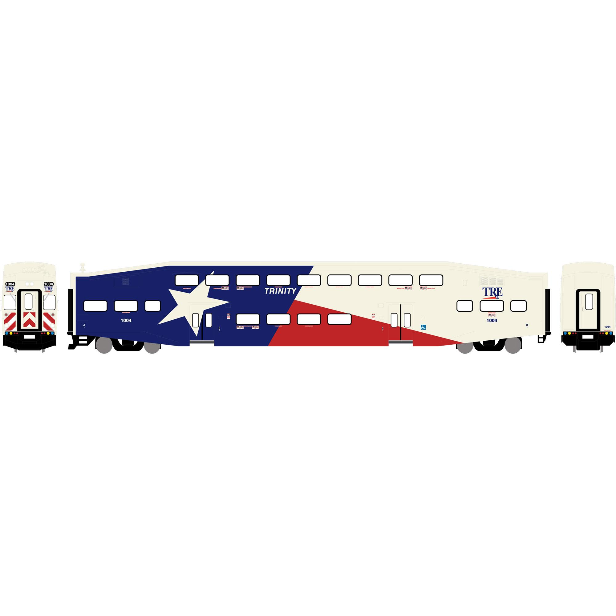 N Scale - Athearn - 24409 - Passenger Car, Commuter, Bombardier Multi-Level - Trinity Rail Express - 1004