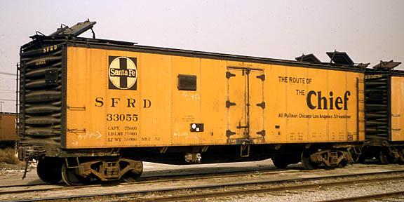 Vehicle - Rail - Rolling Stock (Freight) - Reefer - 40 Foot, ice, Steel, Santa Fe